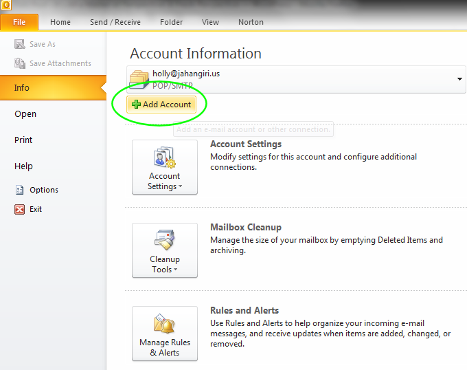 how to add new account in outlook 2010