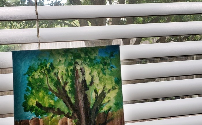An oil painting of a tree, and the same view from my kitchen window.