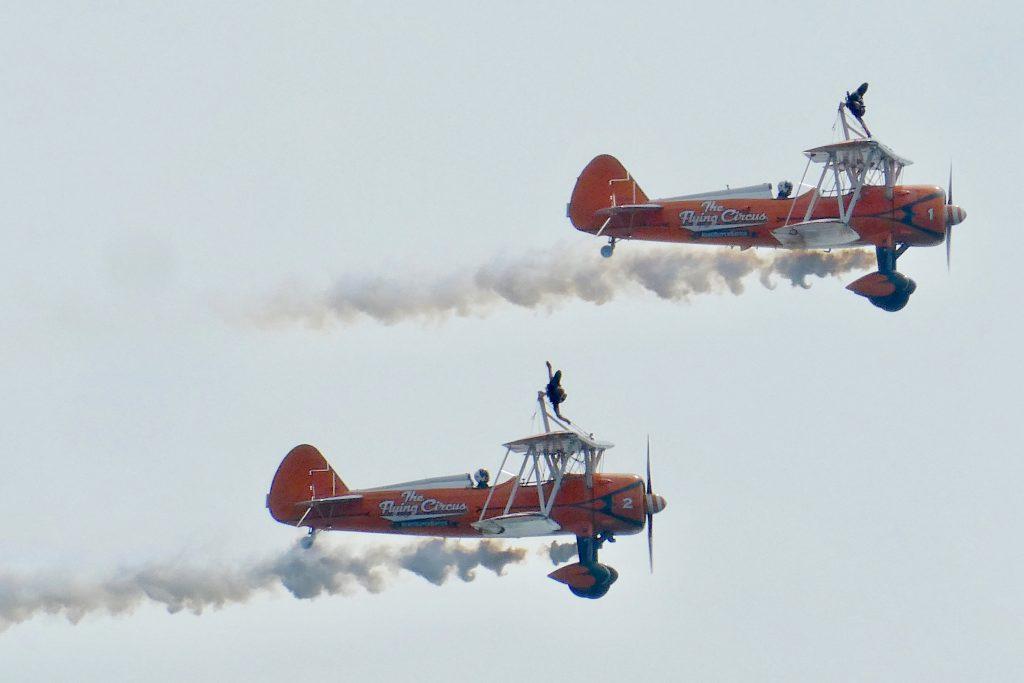 two biplane on flight